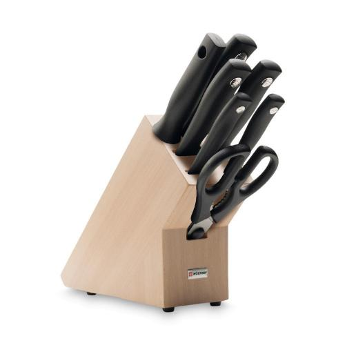 Набор кухонных ножей 5 шт.+кухонные ножницы+мусат на св.дерев.подставке Wusthof Silverpoint - 8 фото
