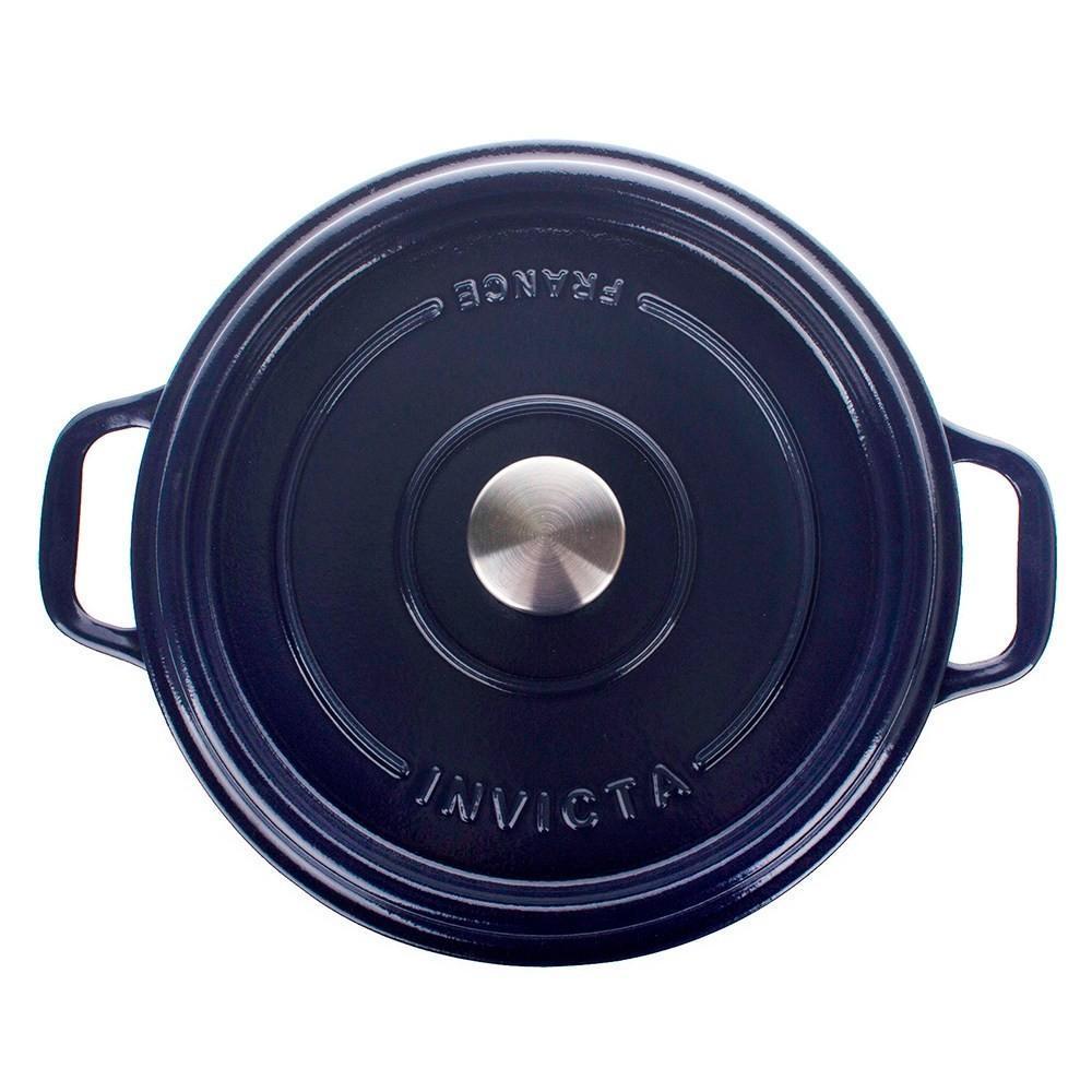 Кастрюля с крышкой чугунная эмалированная 5 л Invicta Bleu reglisse синяя - 3 фото