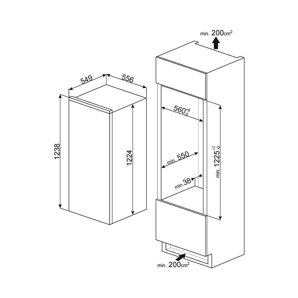 Встраиваемый однодверный холодильник 122 см Smeg S8C124DE белый - 3 фото
