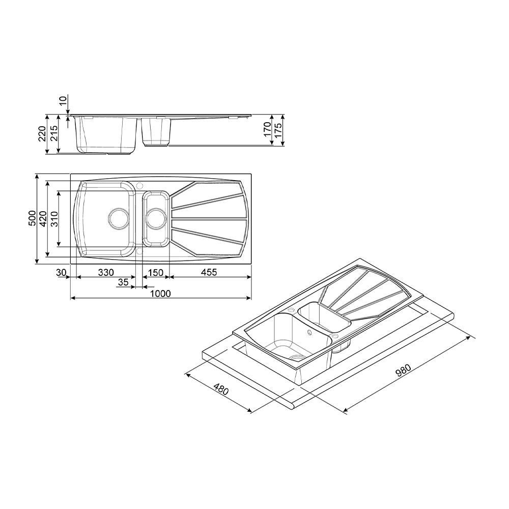 Мойка 100х50 см Smeg Classic LSE1015A-2 антрацит - 1 фото